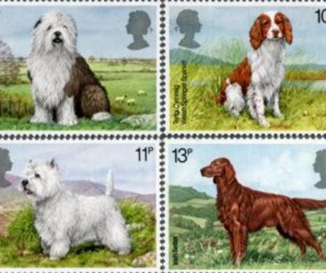Nagymúltú brit kutyák bélyegeken